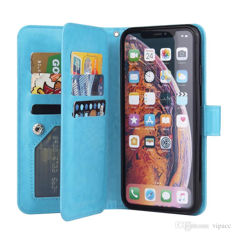 Luxury Designer Phone Case Retro Flip Stand Wallet Leather Case Holder Card Slot Photo Frame Cover For iPhone XS MAX X 8 Plus