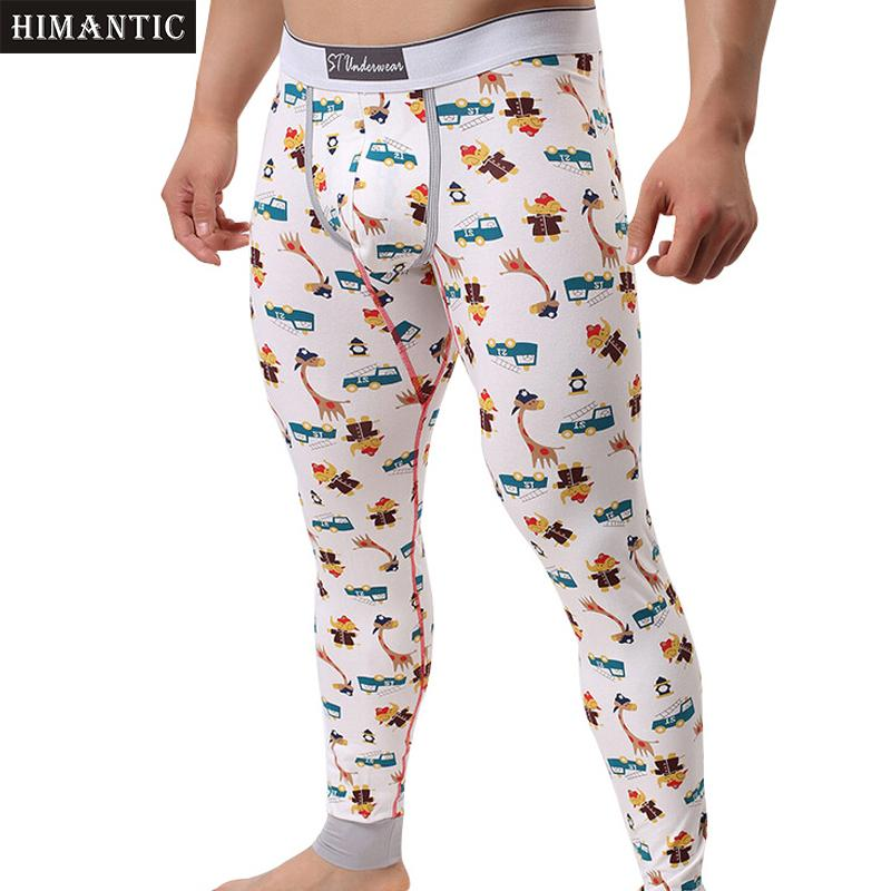 2017 Pantalon en coton Mode Imprimé Sous-vêtements thermiques hommes Thermo Long Johns Caleçons Legging Pantalons Sous-vêtements Hommes Cartoon