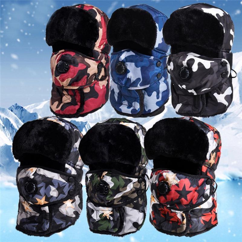 Велоспорт Caps Masks Masks Unisex Riding Cap Зима ветрозащитный лыжный шляп Ловушка Теплый с ушными шляпами и маской Охотничьи шляпы для мужчин Женщины 4O14