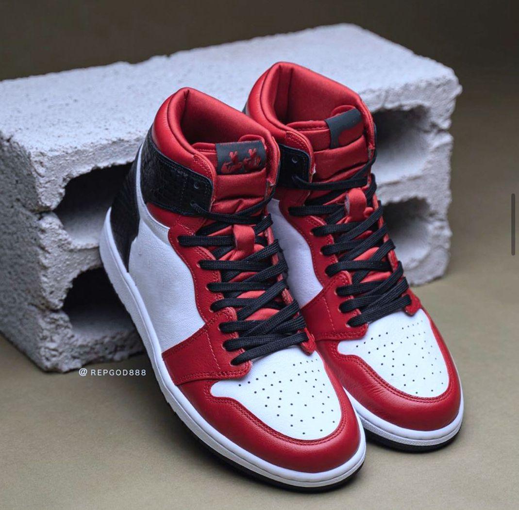 Satin Snake 1 high OG WMNS Snake 1S CD0461-601 الجمنازيوم الأحمر الأبيض-الأسود أحذية كرة السلة Mens مع مربع أصلي