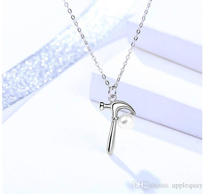 jewelry necklaces tool hammer pendants fresh water pearl woman girls jewels silver 925 chokers young cool casual thin short cross chains 6pc