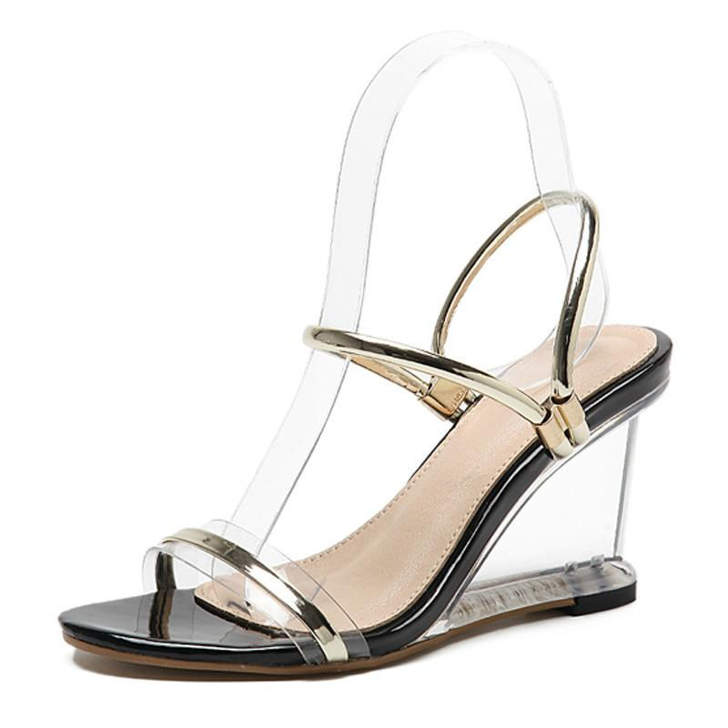 2019 Summer New Women Transparent Crystal Sandals Wedges Glass Sexy High heels 9cm Gladiator Sandals size 35-40