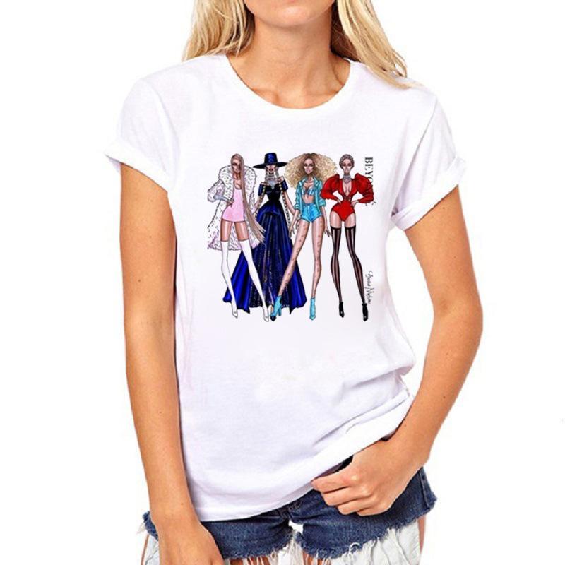 Kadın T-shirt Moda Giyim Kısa Kısa Kollu Baskılı Kızın Beyaz Renk Gevşek ve Harajuku T Shirt