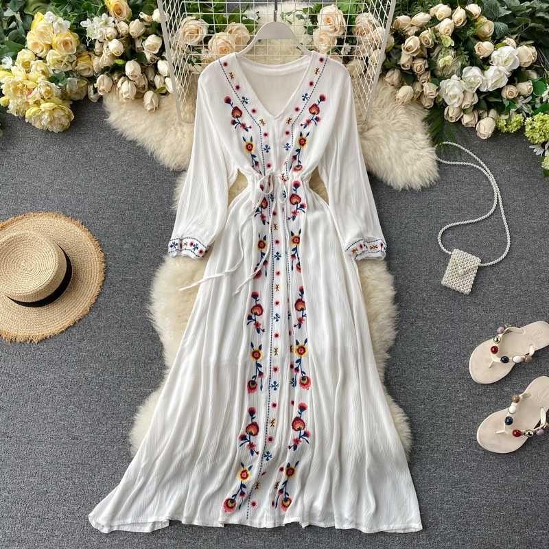 Boémio festa de Verão Mulheres Midi Vestido Primavera Outono linha A Vermelho/Amarelo / Branco Vestido Bordado Para Mulheres Boho vestidas