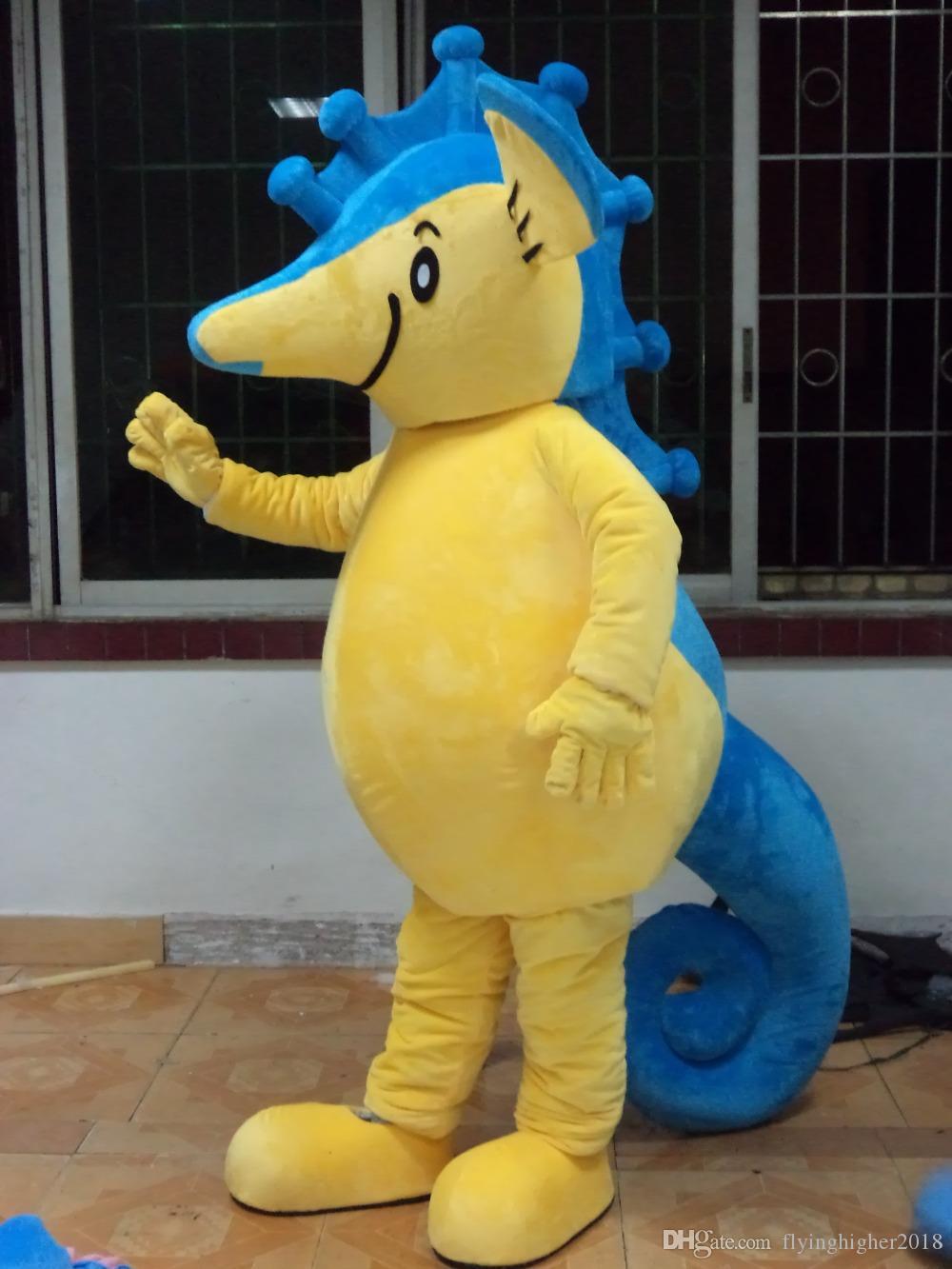 Profesyonel özel Sarı Seahorse Maskot Kostüm Karakter Hipokampus Maskot Giyim Noel Cadılar Bayramı Partisi Fantezi Elbise