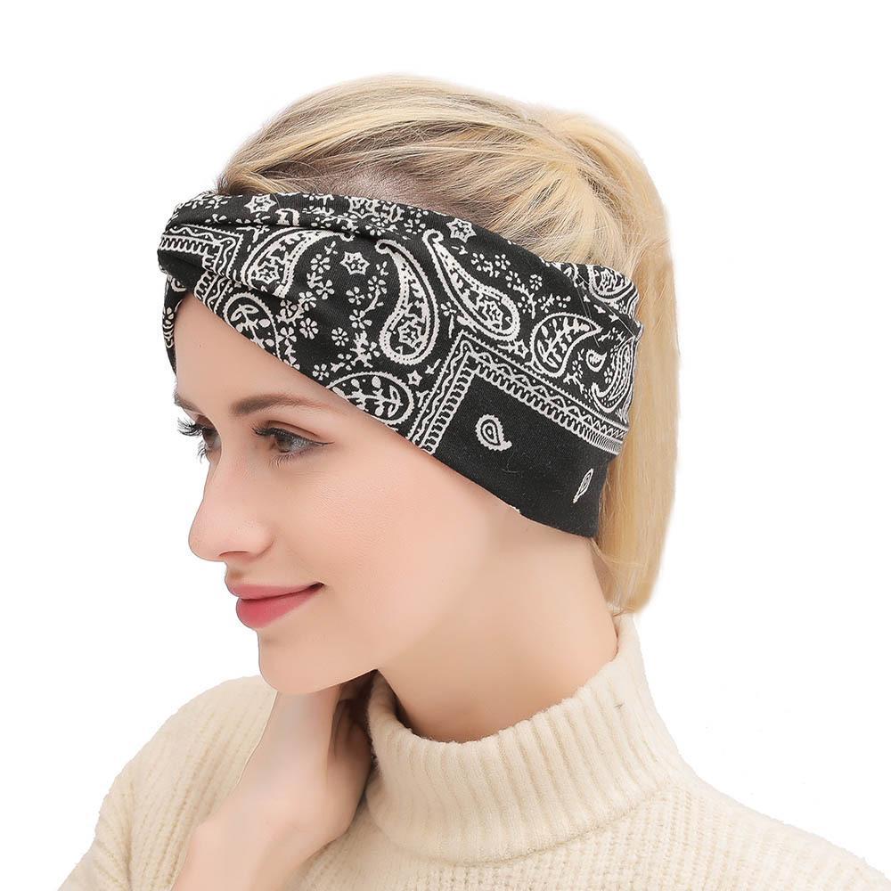 Moda croce stampata donne Hairband della Boemia di stile casual sportivo fascia Outdoor Fitness Jogging Yoga Fascia per capelli