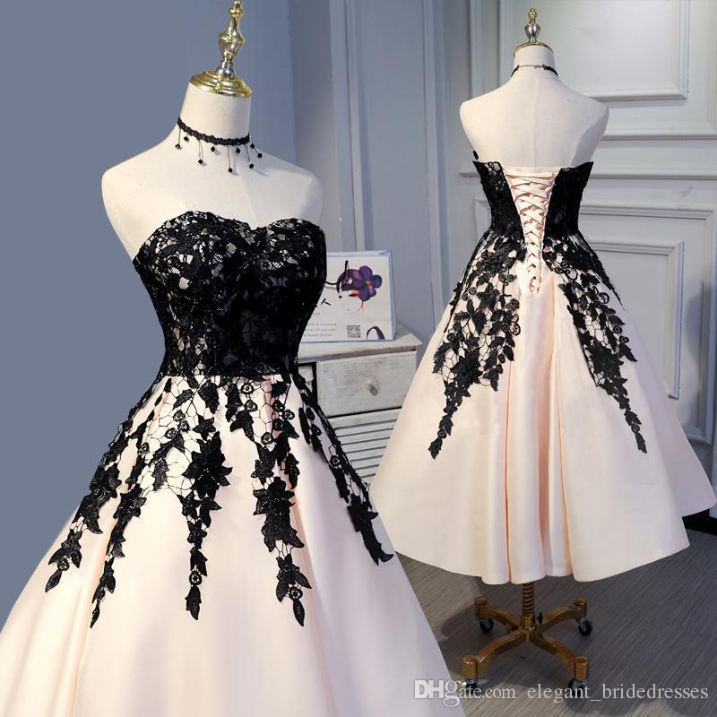 2019 élégante dentelle Floral thé longueur robes de soirée Vintage Puffy formelle robe de soirée, plus la taille chérie épaule nue Gonws