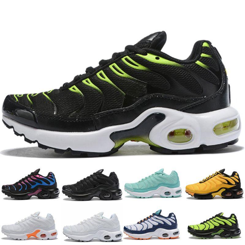 Nike Air Max TN Plus atacado TN Além disso KPU botão mágico almofada de ar instrutor as crianças que funcionam sapatos menino menina do esporte criança jovem Sneaker tamanho 28-35