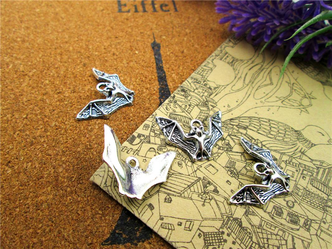 60pcs encantos morcego Antiqued prata bat Tone pingentes charme 23x17mm