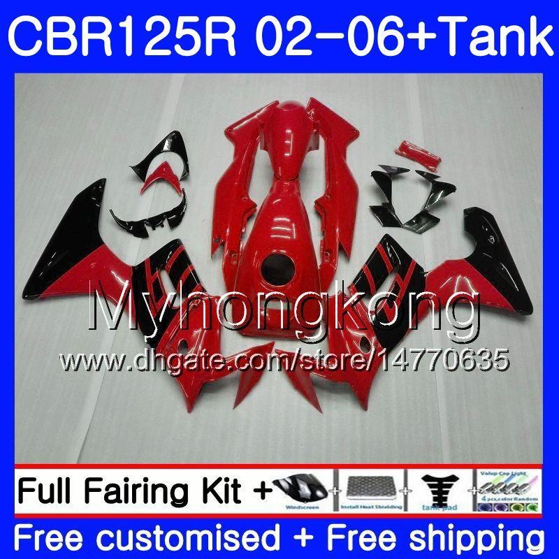 Light red black Body +Tank For HONDA CBR-125R 125CC CBR125RR CBR125R 02 03 04 05 06 272HM.16 CBR 125 R 125R 2002 2003 2004 2005 2006 Fairing