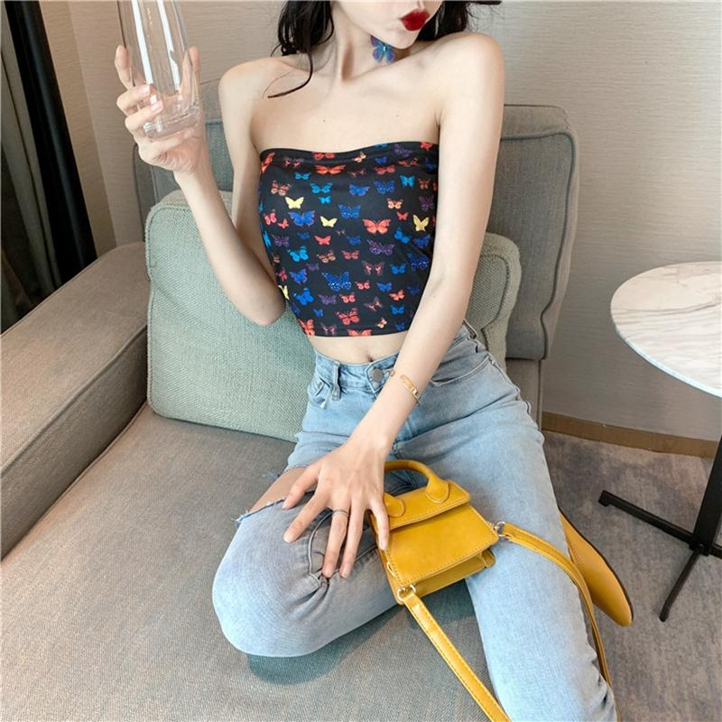 Summer Holiday Womens Crop Top Short Mini Girls sin mangas sin tirantes Bandeau Crop Bra Boob Tube Butterfly impreso chaleco Tops