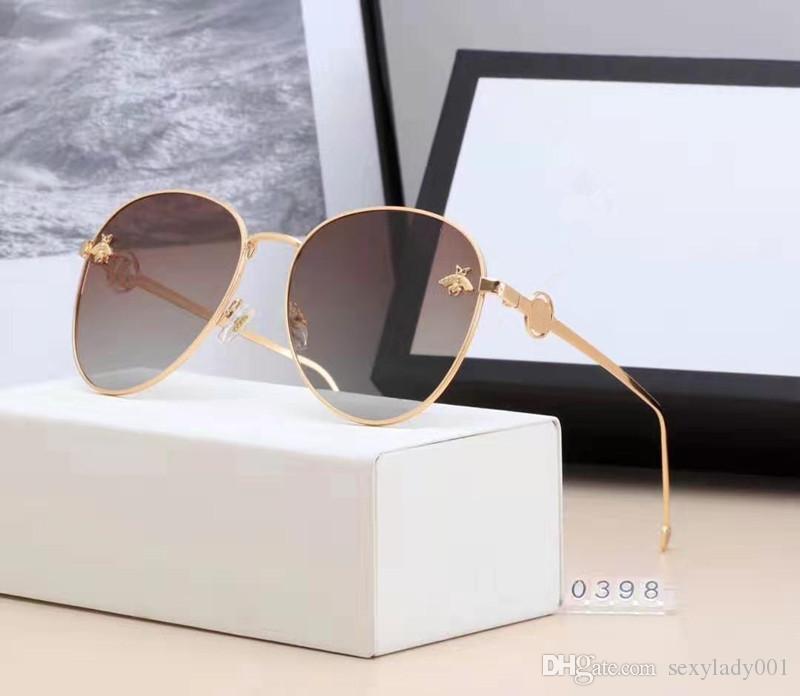 marque de mode de luxe design 6 couleurs de femmes de haute qualité des lunettes de soleil de mode Cadres Big Round avec le paquet Box 0398.