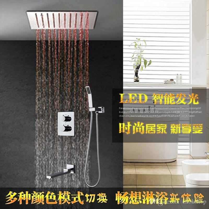 Luxo banheiro multi cor mudança chuva cabeça de chuveiro conjunto recesso chuveiro teto eletricidade chuveiro levou torneira misturadora termostática 304SUS