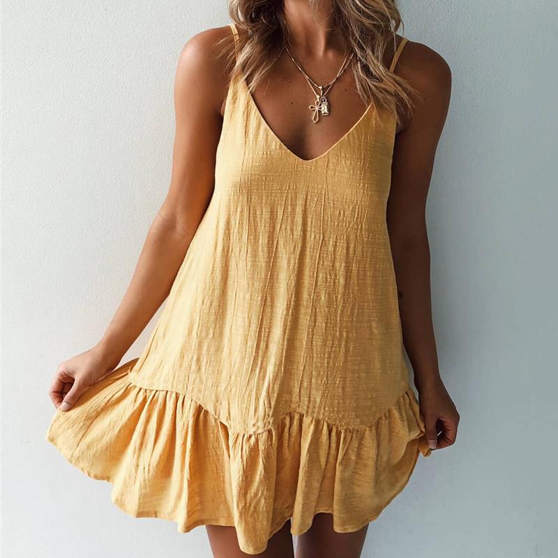 Gros-Vintage mini robe lâche occasionnels femmes 2019 écharpe col en V courte plage dos nu femme sexy robe Vestido robes 3 couleurs