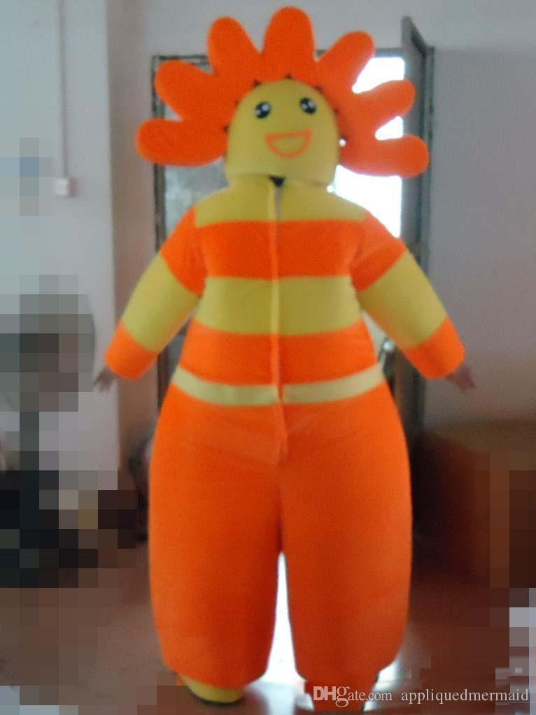 2018 El traje de la mascota de un hombre girasol caliente de alta calidad puede ver la cara para que la use un adulto