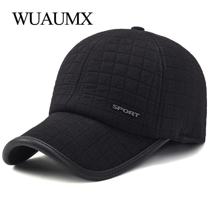 Wuaumx Kış Kalın Beyzbol Şapkası Earflaps Ile Erkekler Için Sıcak Tutmak Pamuk Snapback Kap Erkekler Baba Şapka Kulak Koruma Casquette Y19052004
