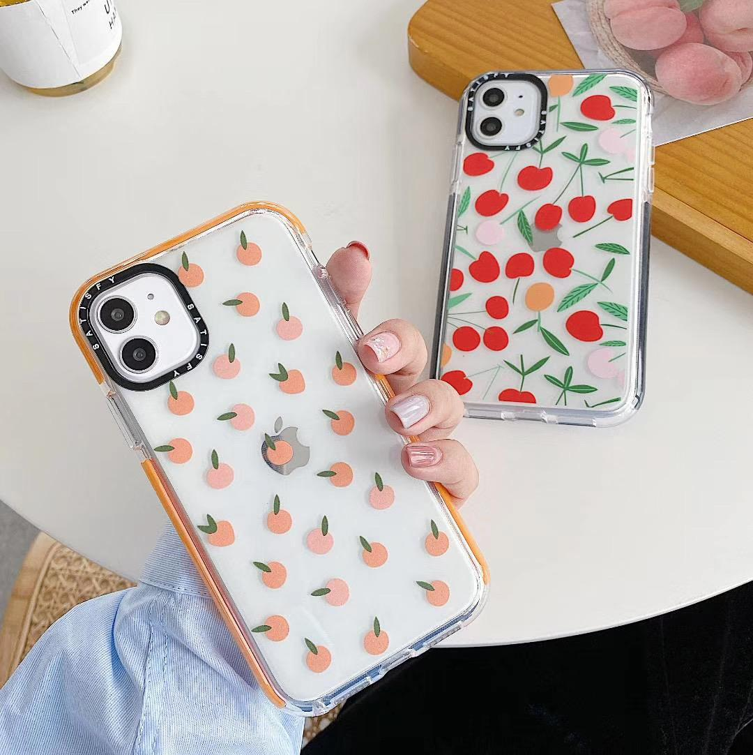 Été Mignon Fruit Cerise orange Cas de téléphone pour l'iPhone 11 Pro Max XR XS Max 7 8 Plus X souple TPU clair Back Cove