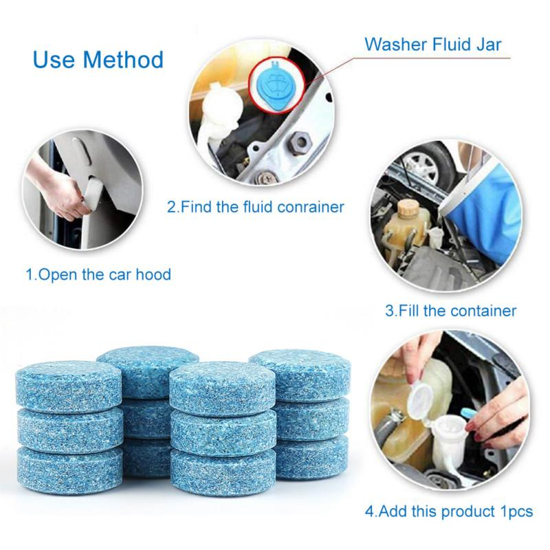 50 Pcs Multifunctional Effervescent Tablets Car Windshield Cleaner Universal Cleaning Tool For Toilet Car Cleaning Accessory