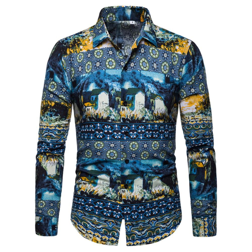 Mens Shirts Turn-down Collar Long Sleeve Shirt Men New Arrival Casual Male Blouse Fashion Floral Clothes Slim Fit Korean Style