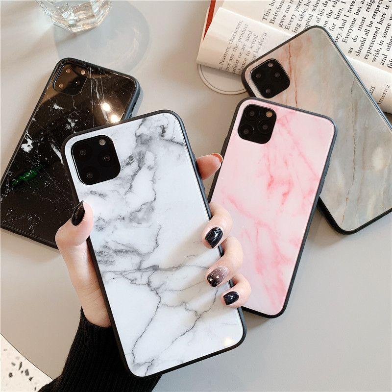 A prueba de golpes Material de cristal de mármol del diseño del teléfono celular para el iPhone 11 pro 6 6s 7 8 Plus XS XS xr max