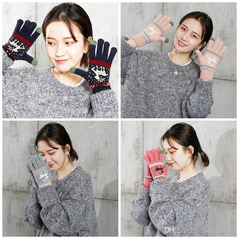Frauen Screen-Handschuhe Strick verdicken Weihnachten Elk Designs Handschuhe Fingerhandschuh für den Winter im Freien 6 Farben 4 1BF E1