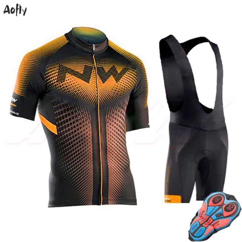 professione NW corte da ciclismo set jersey di arancia uomo 2020 ropa ciclismo hombre vestiti della bicicletta di usura 9D pantaloncini gel pad bretelle moto