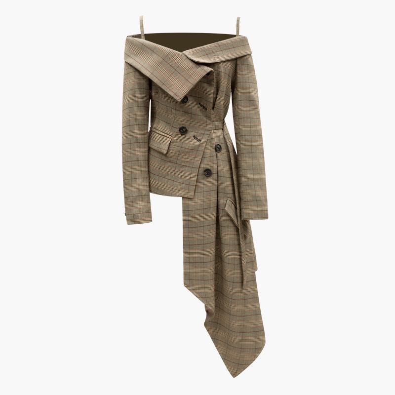 Высокая улица женская элегантная с плечевой пледной печати асимметричный тонкий пиджак