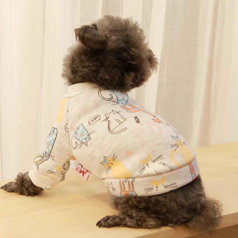 Pet Clothes, Dog and Cat Clothes, Teddy Bear, Bomei, Autumn and Winter Fashion, Warmth, New Flannel Cartoon Cute T-shirt