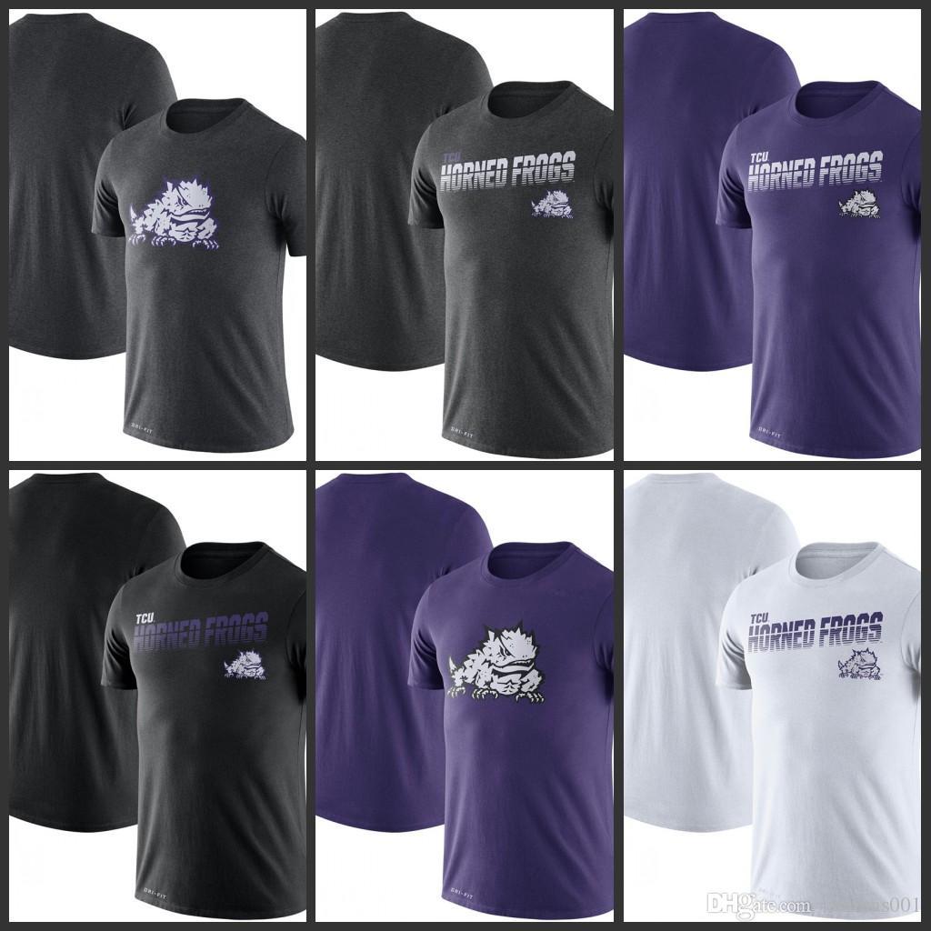 TCU Horned Frogs línea lateral leyenda Rendimiento camisetas de manga corta impresa O-Cuello T Escuela de Fútbol Los deportes de equipo camisetas