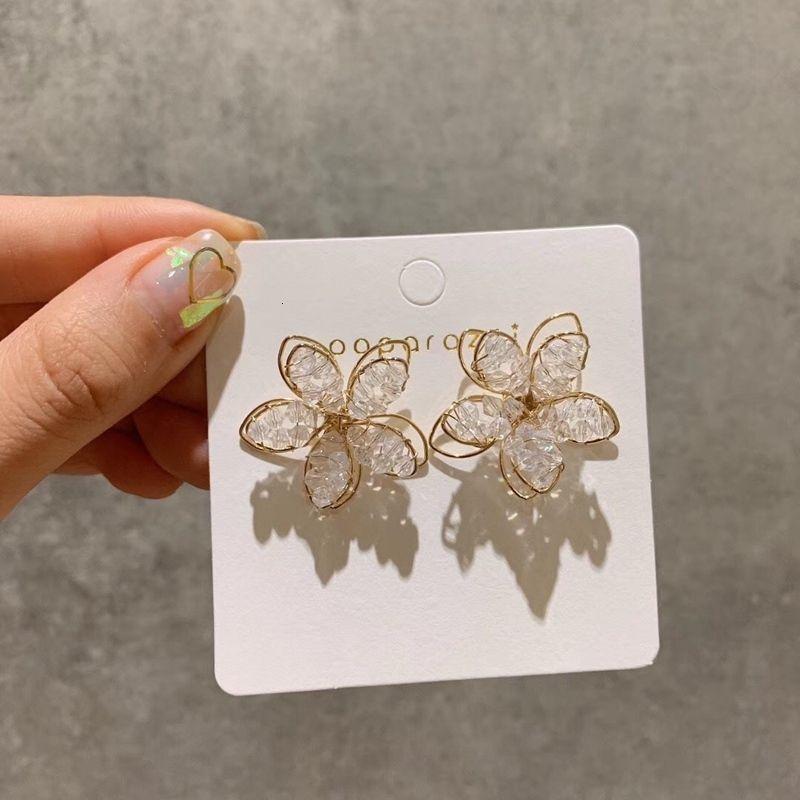 2020Korean Chegada Nova Doce Cristal férias flor brincos para mulheres Moda Presentes elegantes da festa