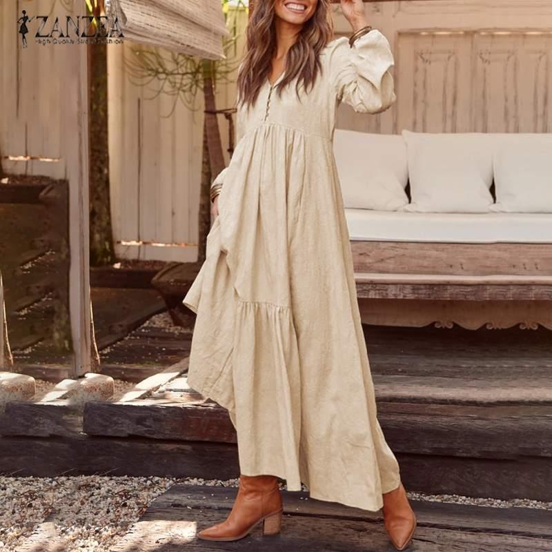 2020 ZANZEA Women Long Maxi Bohemian Dress عادي Pleated Pockets Puttons V Neck Party Vest Vest Vest Vestidos Ladies Cotton Long Tunic Dresses V200416