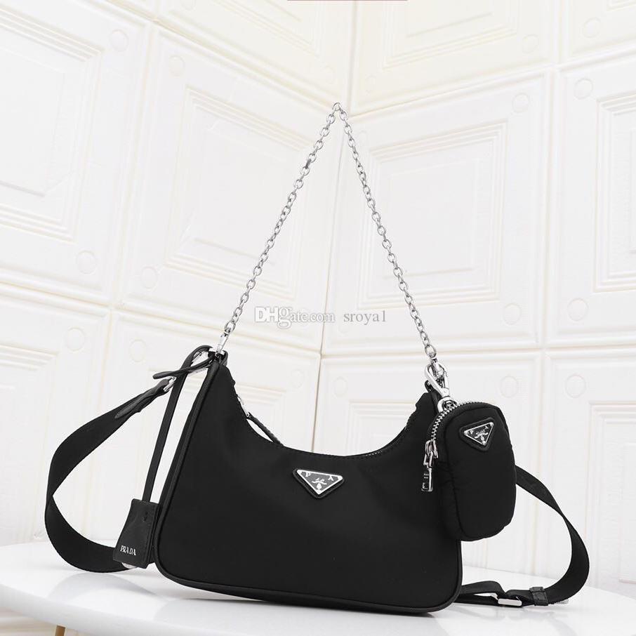 2020 Bayanlar yeni naylon çapraz çanta üç-bir-arada eylem çanta moda deri omuz taşınabilir çanta gündelik Retro koltukaltı tote telefon çantası