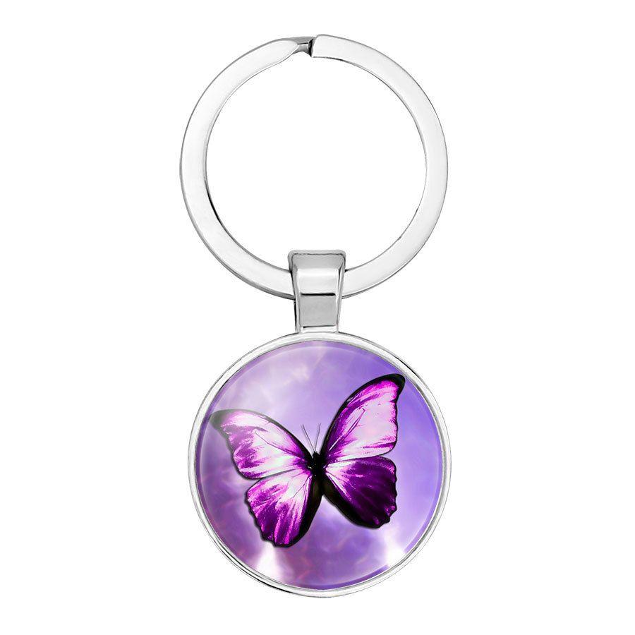 2019 nueva moda colgante llavero llave del reloj de la hebilla del anillo retro de la mariposa del anillo dominante de piedras preciosas tiempo