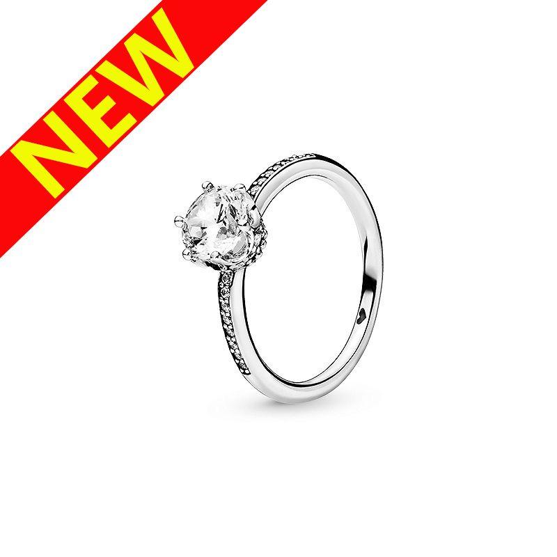 뉴 클리어 스파클링 크라운 솔리테어 반지 럭셔리 디자이너 쥬얼리 Pandora 925 스털링 실버 여성 결혼 반지 원래 상자