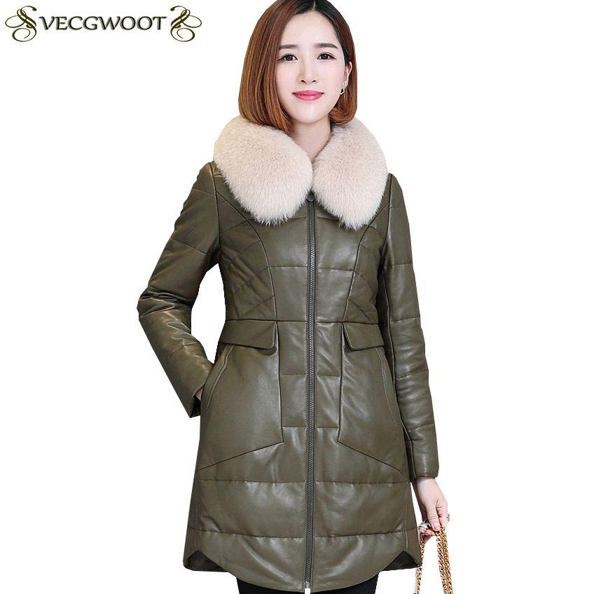 Piumino di cuoio genuino delle nuove donne Giacca invernale femminile di cuoio genuino di modo caldo Lungo Large LJ014 di lunghezza