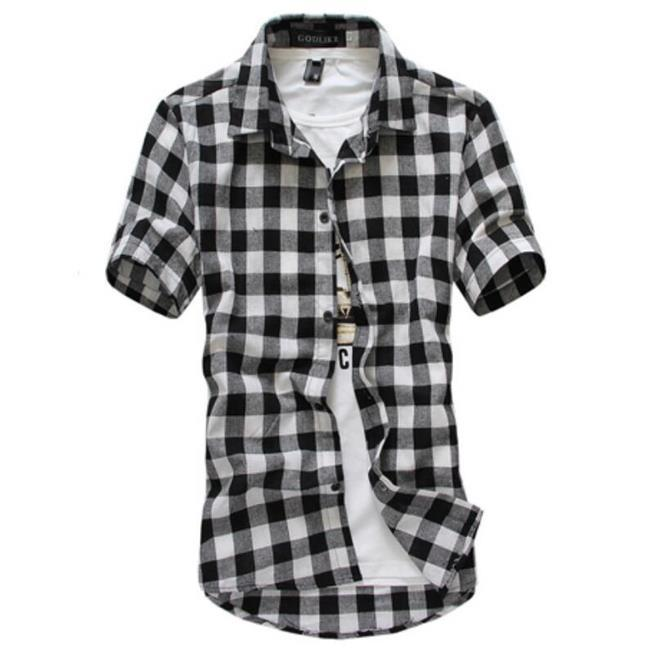 Мужские Plaid Короткие рукава рубашки однобортный Turn Down Воротник Мужской Одежда Повседневная Мужская мода Tops