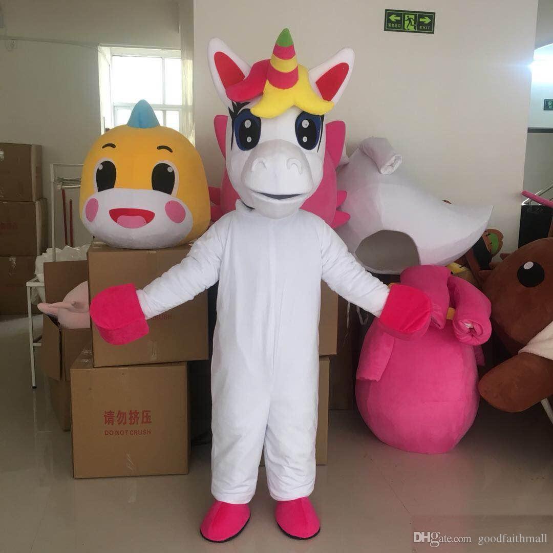 2019 unicórnio traje da mascote adorável branco flying horse cospaly animal dos desenhos animados caráter adulto traje do partido do dia das bruxas carnaval traje