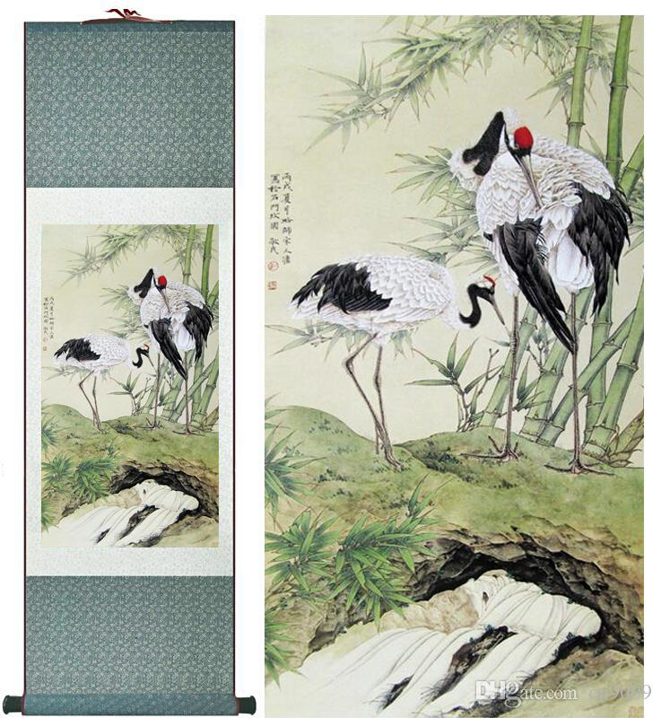 Traditional Silk Art Painting Gruidae Painting Chinese Art Painting Home Office Decoration Chinese Paintingprinted Painting2019061413