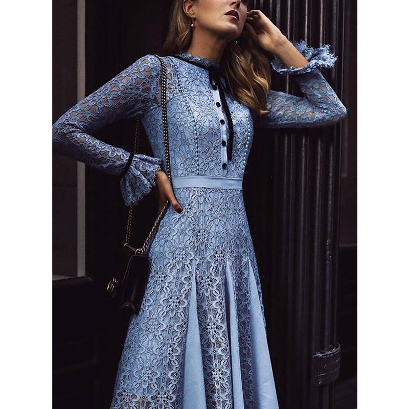 Kate Middleton Yüksek Kalite Pist 2020 İlkbahar Yaz Yeni Moda Kadınlar Parti Ofis Oymak Vintage Dantel Uzun Kollu Elbise
