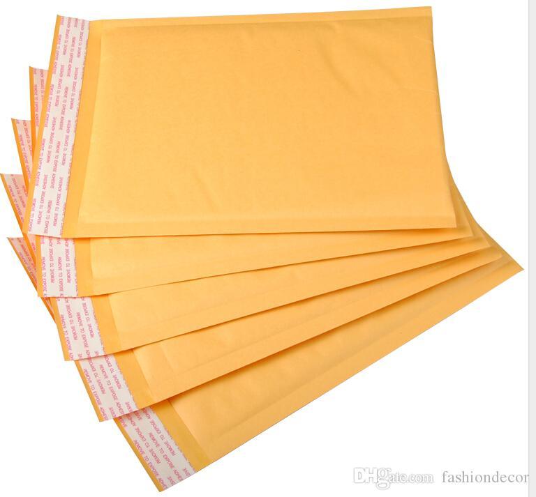 50 adet / grup seçeneği için Daha fazla boyut Kraft Kabarcık Postaları Yastıklı Kabarcık Zarflar Kağıt Torbalar Zarf Sarı Posta Çantası Ücretsiz Kargo