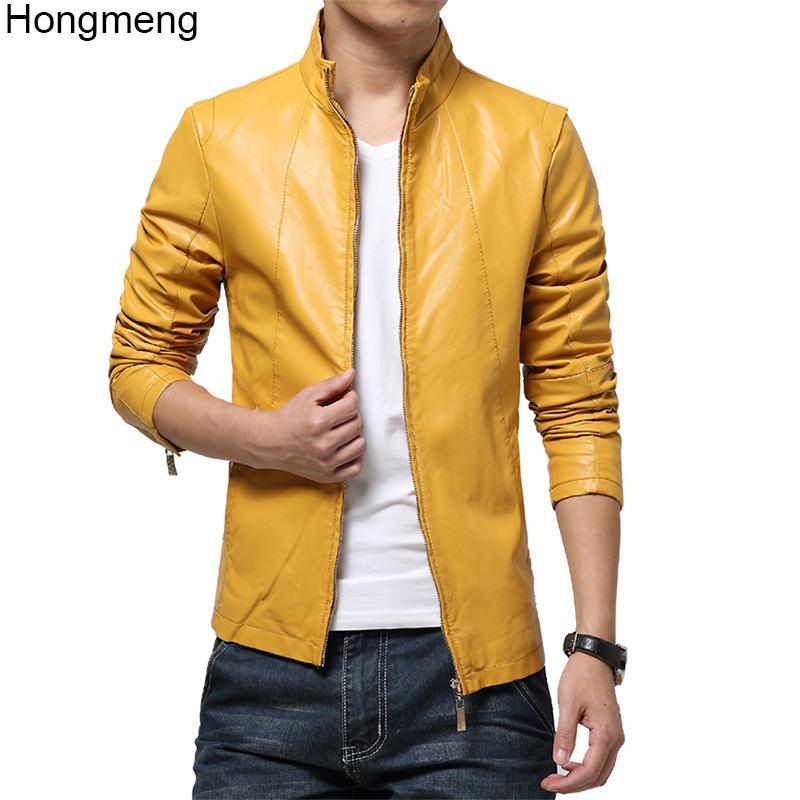 고품질의 가짜 가죽 자켓 슬림 맞는 코트 남성 의류 플러스 사이즈는 M-6XL 선박 빨간색, 노란색, 흰색 검은 색 5color 드롭 2,018 망