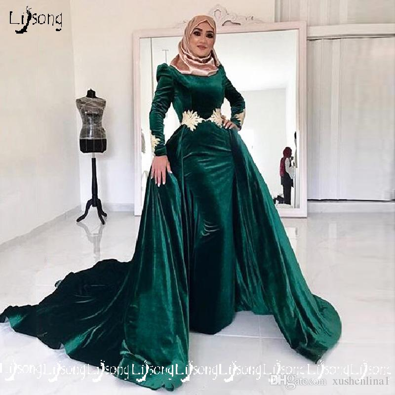 2018 Muslin Islam Haji Women Winter Evening Dress Moslem Velvet Long Sleeve Overskirt Prom Party Wear Elegant Women A-line Formal Maxi Gowns