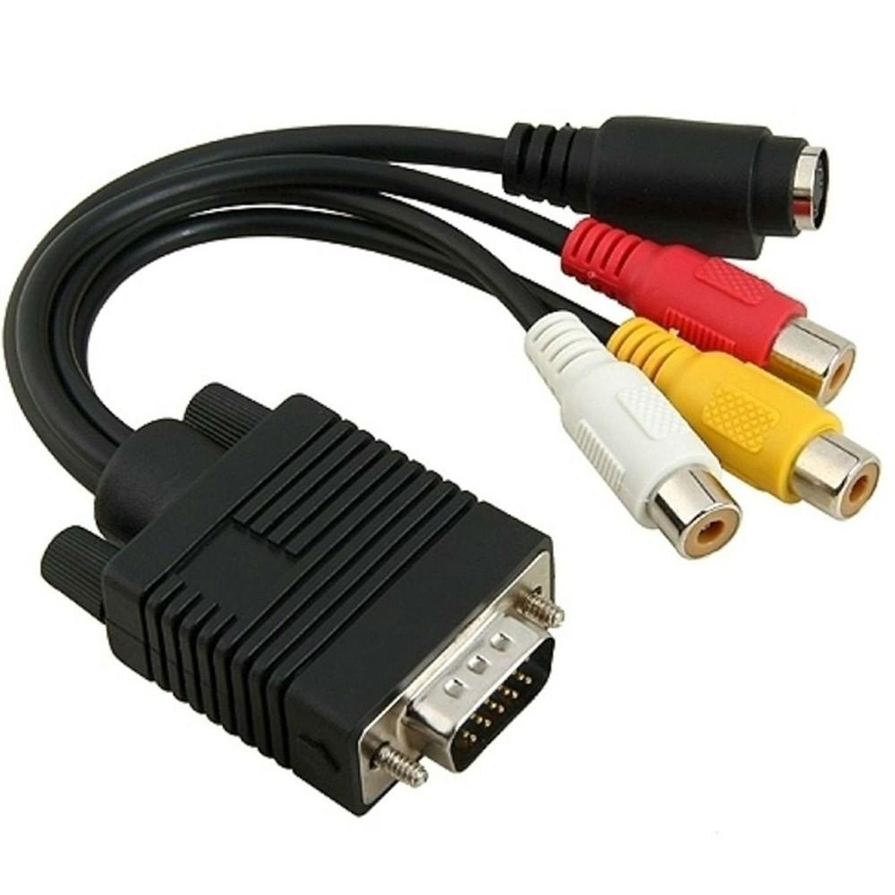VGA Мужской S-Video 3 RCA Jack Женский композитный AV-TV Out адаптер конвертер видео кабель для компьютера на ЖК-монитор Проектор ТВ