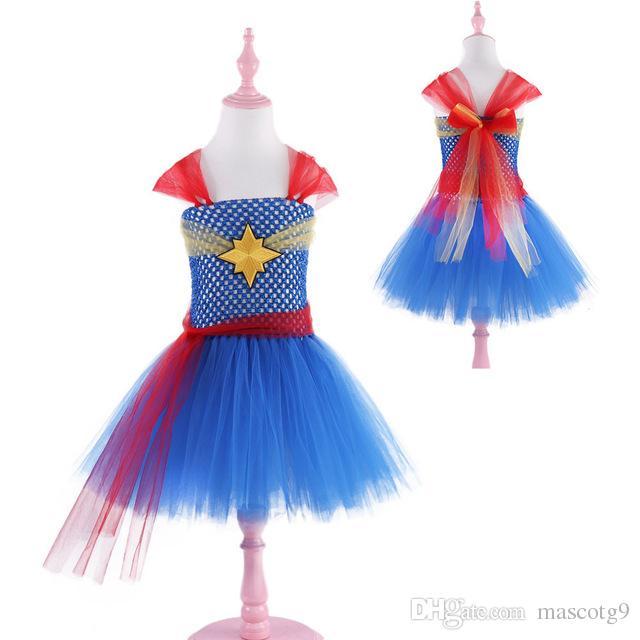 Kız Kaptan marvel Cadılar Bayramı Kostüm Fantezi Elbise Süper Çocuk Parti Cosplay Kostümleri Kızlar Için Süper Kahraman Kostümleri