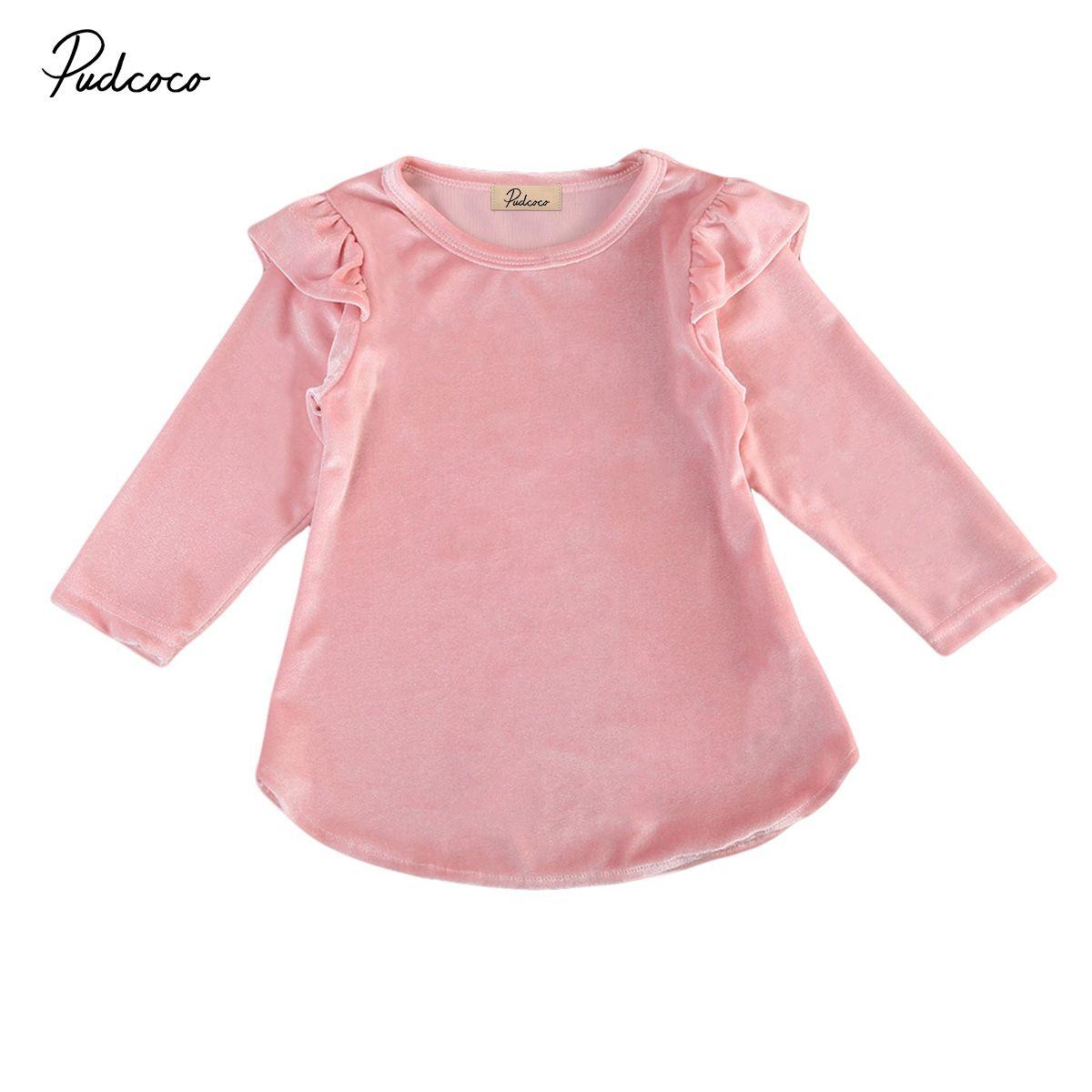 Fiesta niñas nueva primavera del niño otoño del bebé rosado de la princesa Tutu Dress Vestidos Pleuche vestidos para la muchacha ropa 0-4T