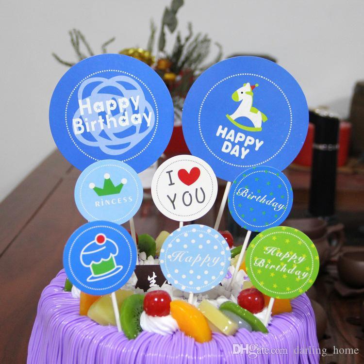 5 Styles 8pcs/set Cartoon Paper Cupcake Topper Wedding Decoration Centerpieces Kitchen Accessories Home Decor Party Supplies