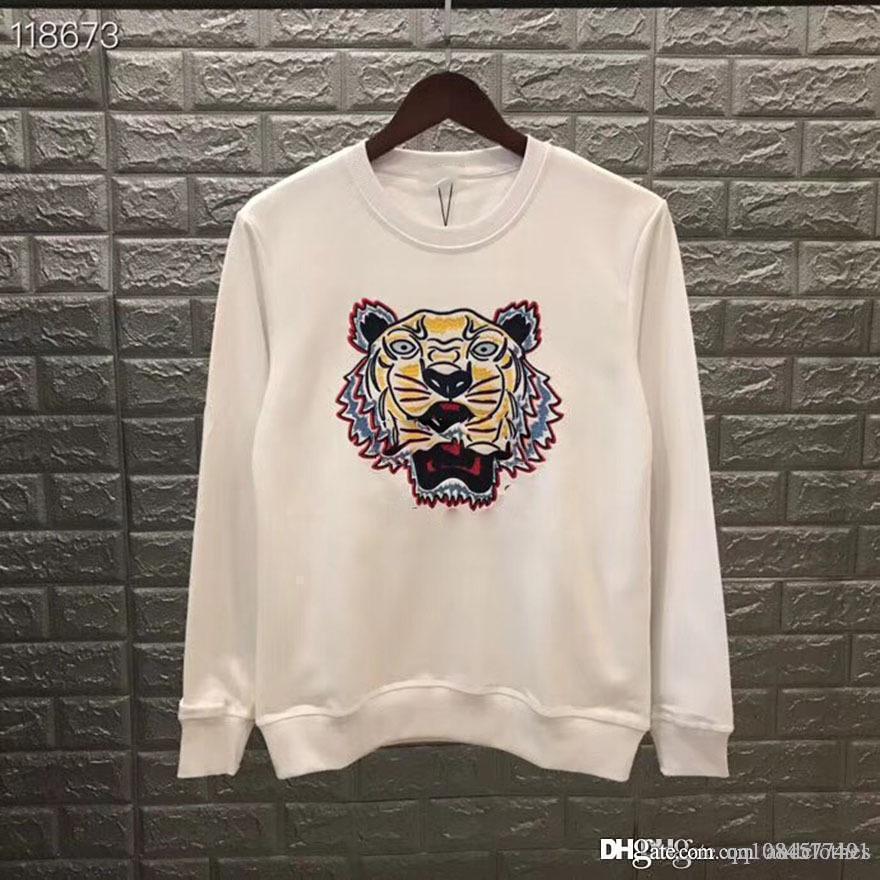 19Hoodies Mens конструктора Толстовки Street Hip Hop высокого качества Сыпучие Fit Повседневный диких женщин Роскошный тигр головы вышивка дизайнер толстовки