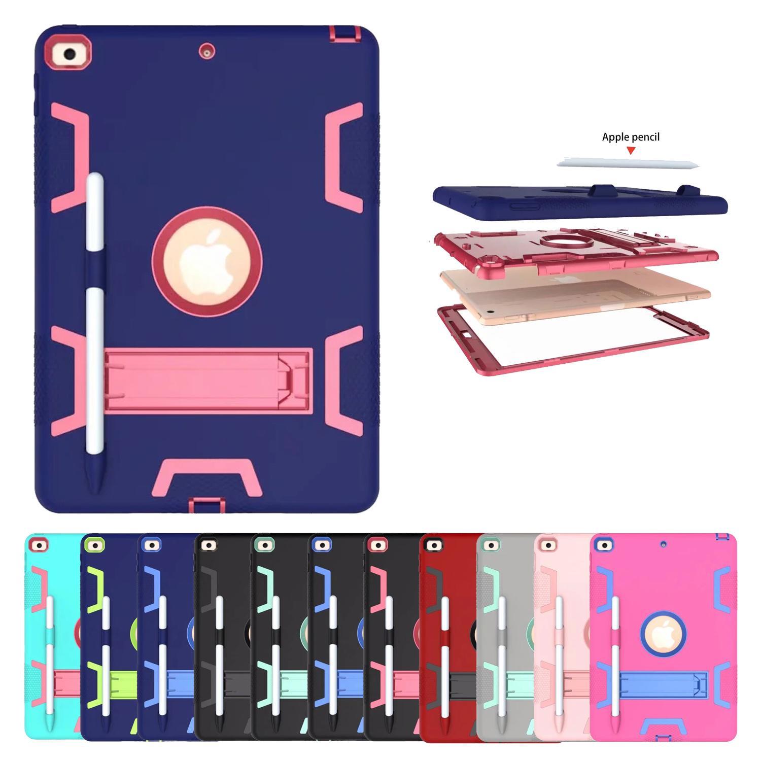 Defender Rugged Armor Case Kickstand Silicon+PC Tablet Case Cover For ipad 10.2 mini 2 3 4 5 9.7 2017 2018