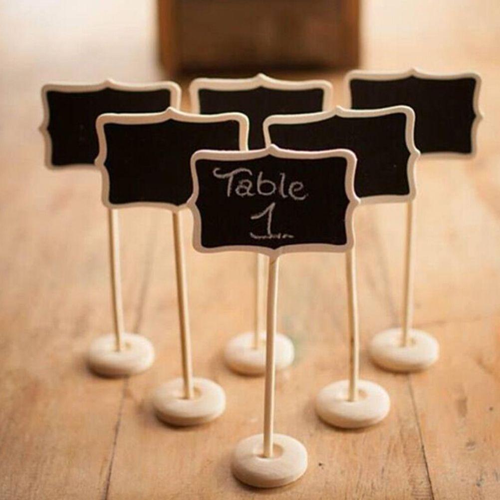 1 PCS Vintage Mini Wood Table Number for Wedding Event Party Decoration Chalkboard Blackboard Wooden Place Card Holder