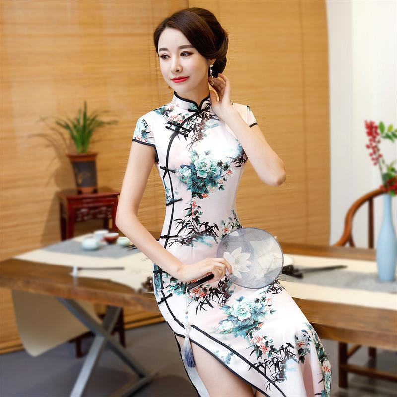 Sheng Coco 4XL Long Vestido Traditional Chinese Clothing Woman Cheongsam Dresses Tilt Buckle Flowers Silk Pink Plus Size Qipao